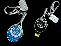 Флешка - брелок- часы, 3 в 1 уникальный подарок флешка в виде ракетки теннисной