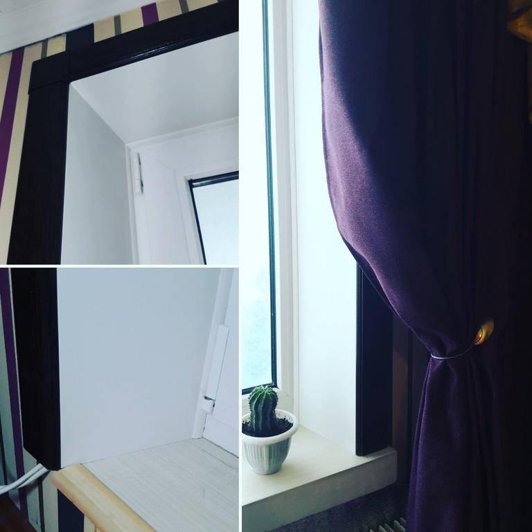 Комбинированная откосная система Qunell (темный дуб) в гостиной, балконный блок