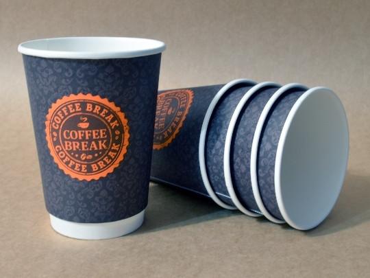 "Бумажный стакан 425 мл ""Coffee Break"" двухслойный тёмный"