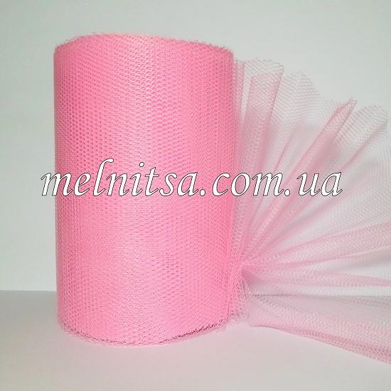 Фатин-сетка, ширина 13 см,  цвет розовый