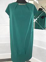 Платье зеленое нарядное свободного покроя большого размера