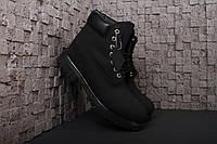 Мужские ботинки Timberland 6 Black Зимние с мехом (Тимберленды) черные