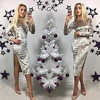 Бархатное платье с высоким разрезом 3 цвета