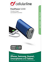 Дополнительный аккумулятор универсальный 5200 mAh Cellular Line FreePower Blue (FREEP5200B)
