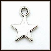 """Метал. подвеска """"звезда"""" серебро (1,3х1 см) 40 шт в уп."""