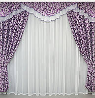 Красивые шторы с ламбрекеном Иза люкс ширина 3 м
