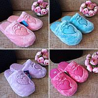 Махровые тапочки Сердце 4 цвета,женские тапочки, тапочки для девочки, обувь для дома нежно-розовый, махра, 36