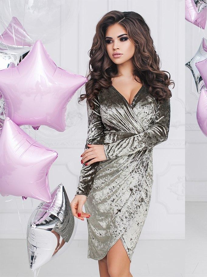 Т2081 Велюровое платье с драпировкой 42,44,46