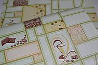 Обои на стену, кофе, зеленый, квадраты, светлый, бумажные влагостойкие, Кофе 2055, 0,53*10м