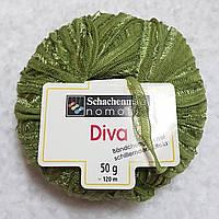 Ленточная пряжа шерсть полиамид травянистого цвета