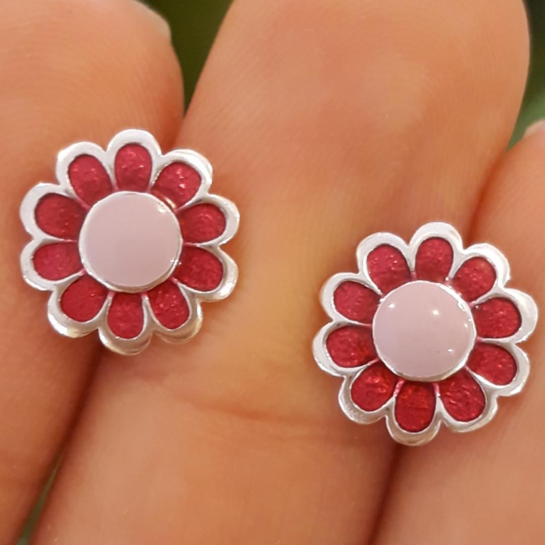 Серебряные серьги Розовые цветочки с эмалью