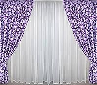 Готовые шторы блэкаут сиреневый