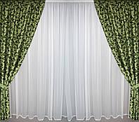 Готовые шторы блэкаут зеленые