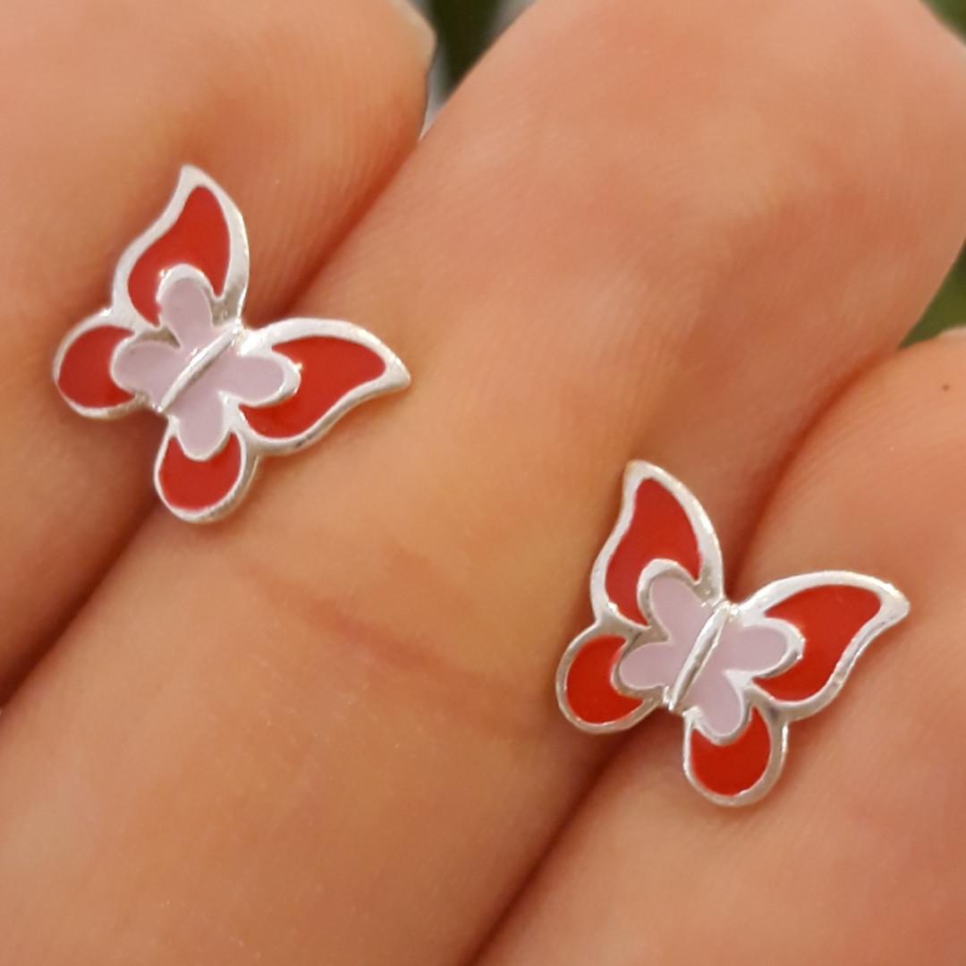 Серебряные детские серьги Бабочки с эмалью красной