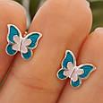 Серебряные серьги для девочки с эмалью Бабочка, фото 5