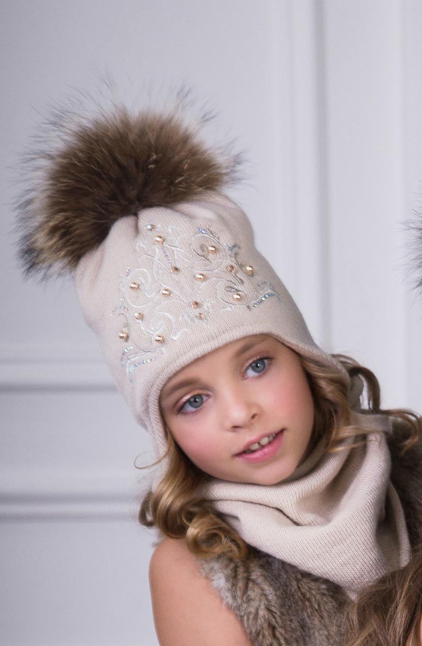 Комплект для девочки с натуральным помпоном (шапка/снуд)