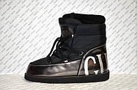 Луноходы  мунбуты женские  Moon boot Gucci черные код 1111