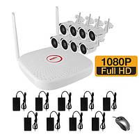 WiFi комплект беспроводного видеонаблюдения на 8 камер 2 Мп на 400 метров LONGSE WIFI2008PG1SE200