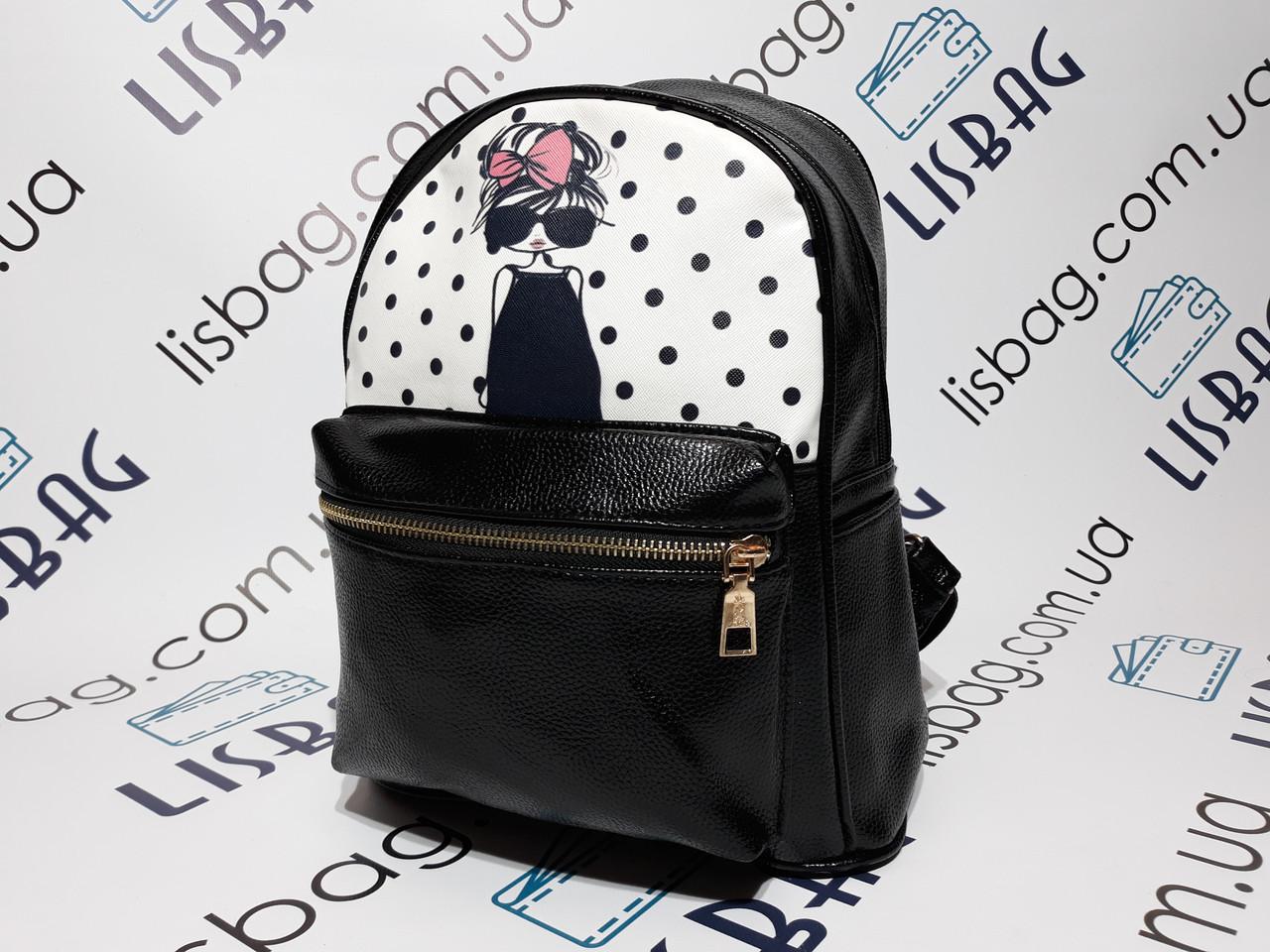 8e4ce498e9f0 ... Маленький женский рюкзак портфель черный из искусственной кожи с  принтом девочки, ...