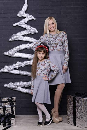 Женское платье светло-серое с бабочками, фото 2