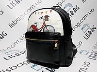 Маленький женский рюкзак портфель черный из искусственной кожи с принтом велосипед