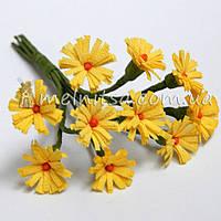 Букет ромашек ткань 1 см, желтые
