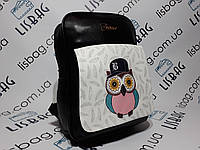 Маленький женский рюкзак портфель сова черный из искусственной кожи PU