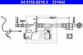 Шланг тормозной задний левый с тормозной трубкой и кронштейном для барабанного тормозного механизма Ate