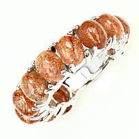 Серебряное кольцо с солнечным камнем