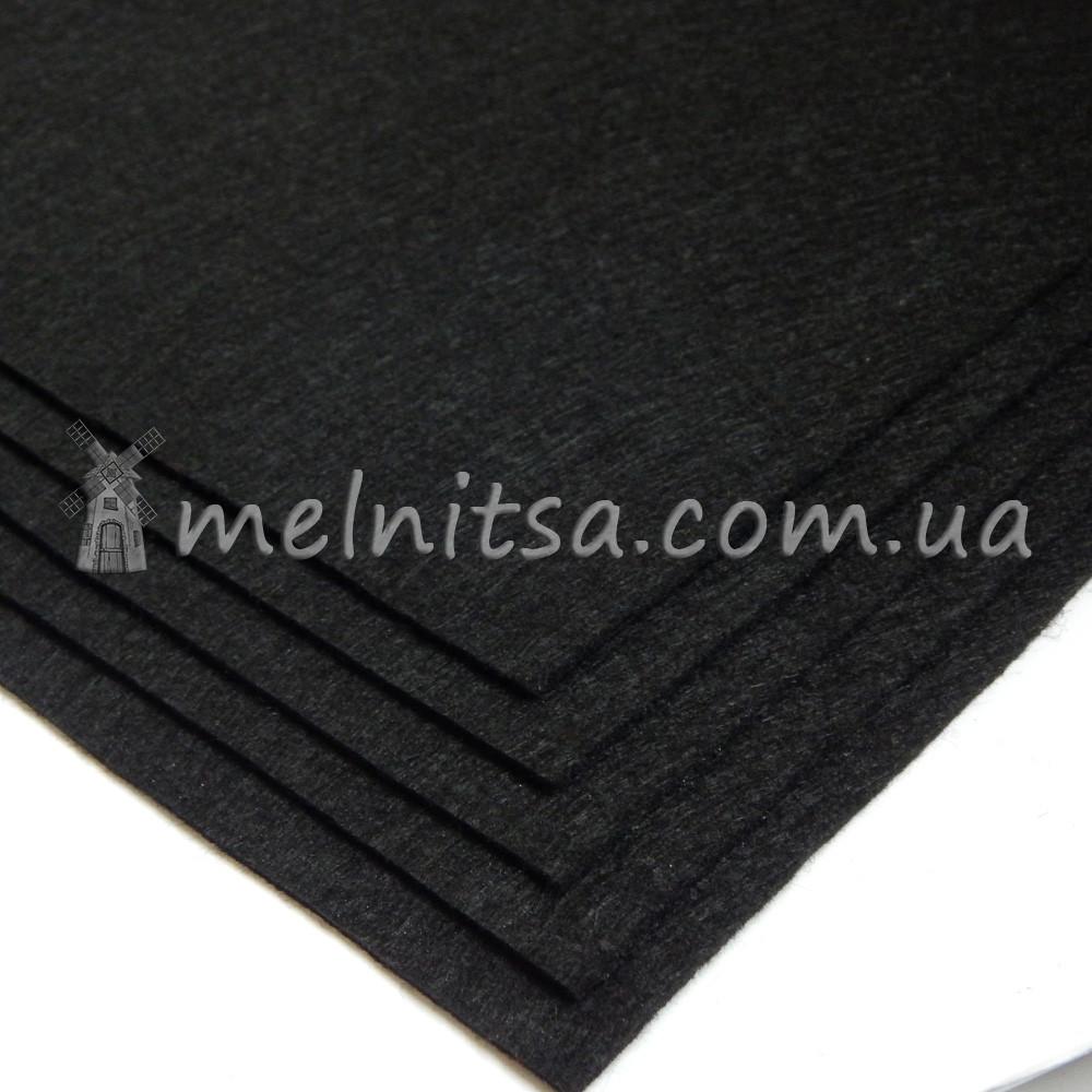 Фетр жесткий лист 25х25 см, 2 мм, черный (Китай)