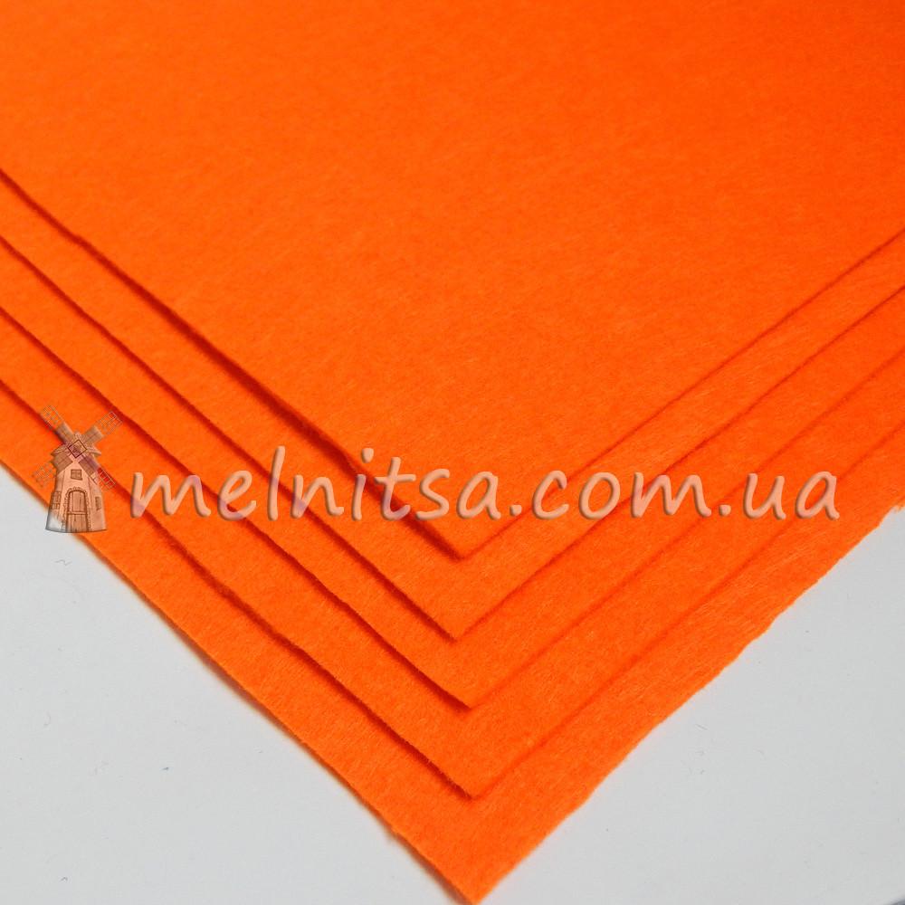 Фетр жесткий лист 25х25 см, 2 мм, оранжевый (Китай)