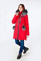 Женская куртка зима мех 2018 44, Красный