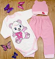 Комплект детский MirAks SC-4867-00 Pink (Розовый/боди+штанишки+шапочка/начес/накат)