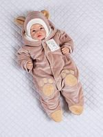 """Велюровый комбинезон с капюшоном """"Панда"""" для новорожденных"""