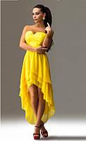 Желтое вечернее платье с укороченным передом