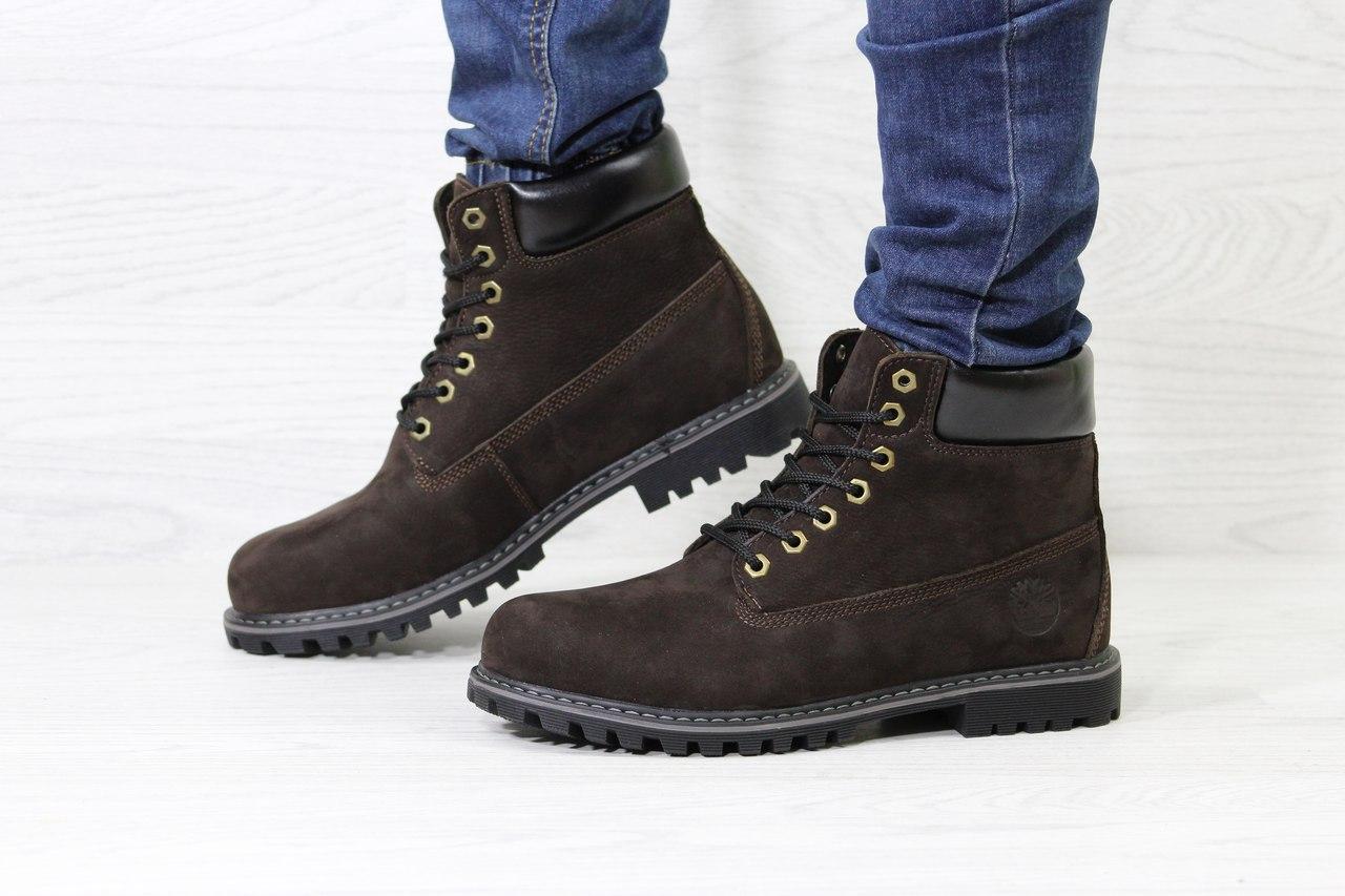 Ботинки Timberland мужские (коричневые), ТОП-реплика