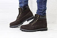 Ботинки Timberland мужские (коричневые), ТОП-реплика, фото 1