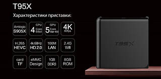 Мини ПК, приставка Android TV BOX Т95Х 2+8 (4 ядра)