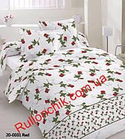 Комплект полуторного постельного белья Gold - красные цветы