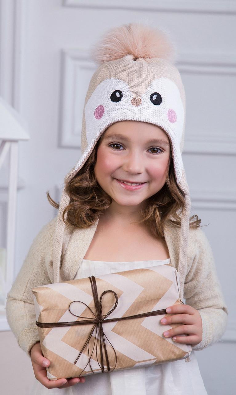 Детская шапка-ушанка для девочки Пингвин