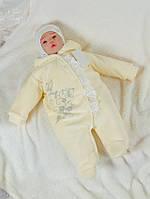 """Велюровый комбинезон с капюшоном """"Веточка"""" для новорожденных"""