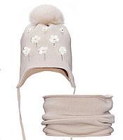 Детский комплект для девочки Ромашки (шапка/снуд)