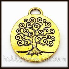 """Метав. підвіска """"дерево"""" золото (2,7х2,3 см) 3 шт в уп."""