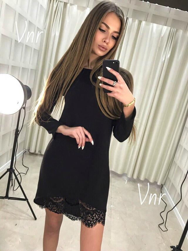 02feaa1f71ab Трикотажное платье с кружевом код 725