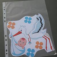 Наклейка Аист с малышом и цветочками