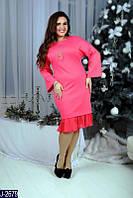 Платье французский трикотаж + плиссировка  кулон в комплекте (размеры 50-58 )0049-73