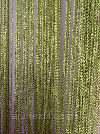Штори нитки Об'ємні зелень-оливка, фото 2