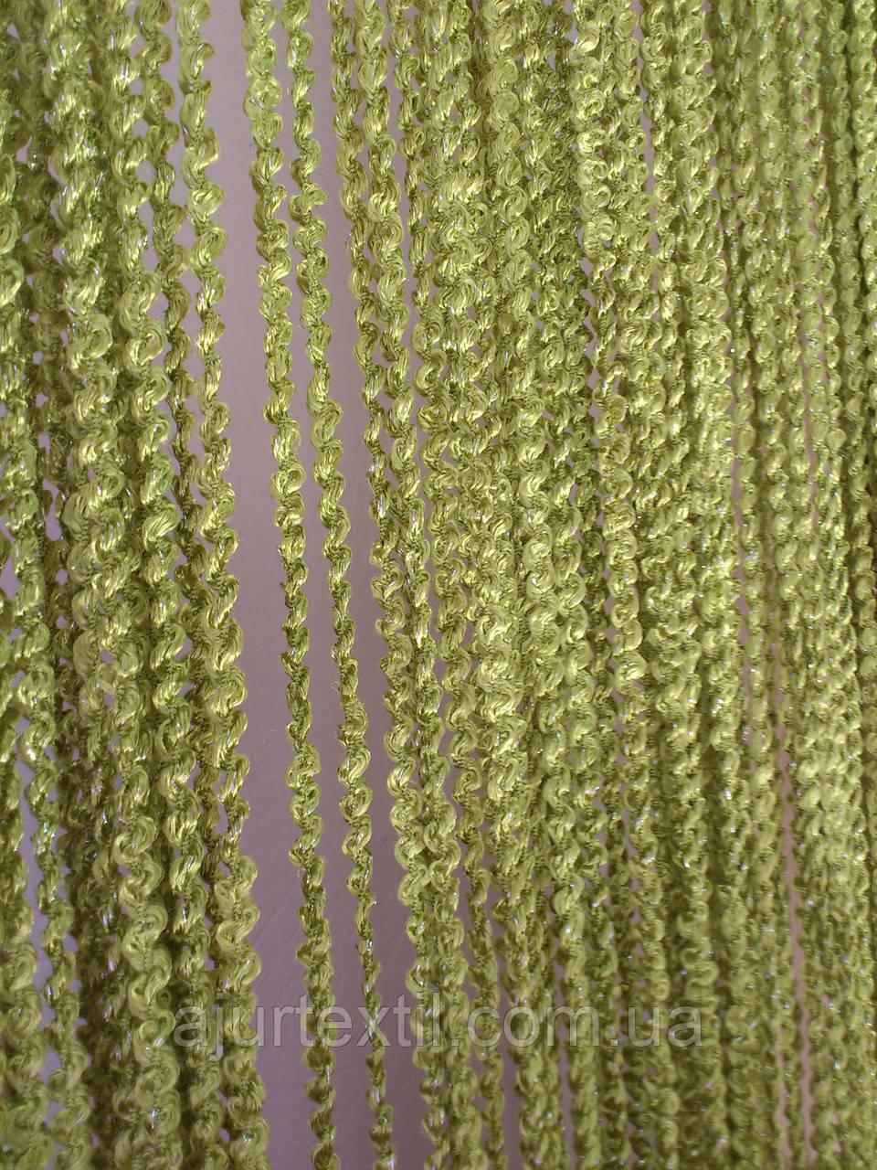 Штори нитки Об'ємні зелень-оливка