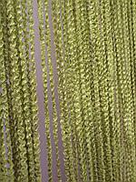Шторы нити Объемные зелень-оливка