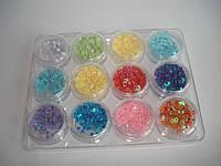 Украшения для ногтей сердцами и звездами в пластиковом контейнере, 12шт
